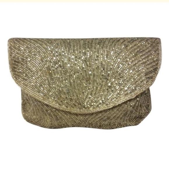 DeLiLL Handbags - DeLiLL Silver Beaded Clutch